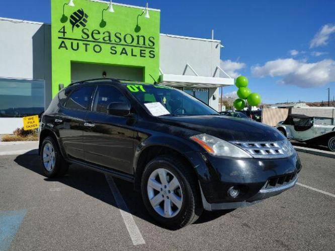 2007 Super Black /Charcoal Cloth Interior Nissan Murano S 2WD (JN8AZ08T07W) with an 3.5L V6 DOHC 24V engine, Continuously Variable Transmission transmission, located at 1865 East Red Hills Pkwy, St. George, UT, 84770, (435) 628-0023, 37.120850, -113.543640 - Photo #0
