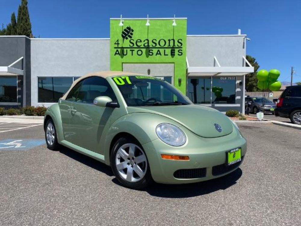 2007 Gecko Green with Cream Soft Top /Cream Leather Interior Volkswagen New Beetle 2.5L PZEV Convertible (3VWRG31Y77M) with an 2.5L L5 DOHC 20V engine, located at 1865 East Red Hills Pkwy, St. George, UT, 84770, (435) 628-0023, 37.120850, -113.543640 - Photo #0